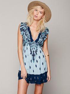 Free People Geo Print Ruffle Frock, $108.00. Beautiful two-tone blue sun dress <3