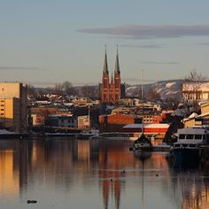 View from the harbor, looking toward Skien church, Skien, Telemark, Norway Paris Skyline, New York Skyline, Beautiful Norway, Scandinavian Countries, Midnight Sun, European Travel, Perfect Place, Places To Go, Country