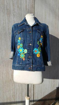 Veste en Jean oversize embellis, altéré Couture fleur de Bohème, rétro, bonneterie, éclectique, Hippie, Flower Child