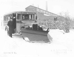 Snow plow mounted on a line bus in Finland, mid. 1930's