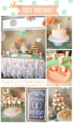 Baby girl first birthday party! Pink peach gold mint fox orange glitter cake pops diy fox ear headband place settings shower kids table party favors.