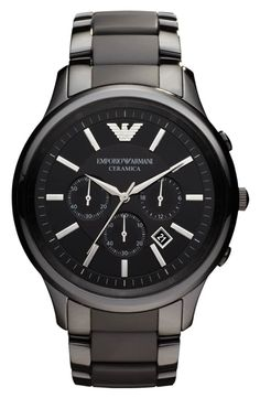 4d713c3444b4 Emporio Armani Large Ceramic Chronograph Watch