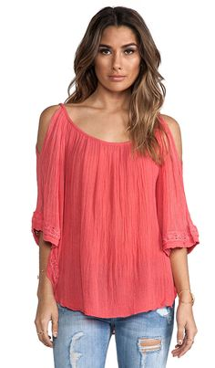 cute cold shoulder flouncy top