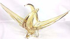"""Vintage 20"""" Chalet Amber Gold Stretched Vase Sculpture Centerpiece Unsigned"""