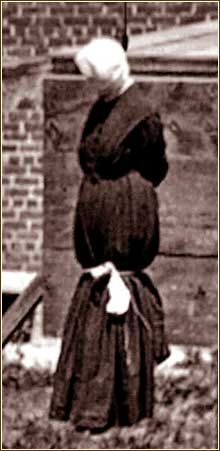 Mary Surratt, 42, proprietor of a Maryland tavern and a Washington boarding house that served as meeting places and safe houses for Confederate spies and couriers. She was found guilty for her part in Lincoln's assassination.  Pictured: Mary Surratt, the first woman ever put to death by the Federal Government.