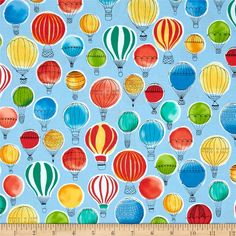 Kaufman Paris Adventure Hot Air Balloons Multi from @fabricdotcom  Designed by Margaret Berg for Robert Kaufman, this cotton print fabric is perfect for quilting, apparel and home decor accents. Colors include shades of blue, green, yellow, orange, red, white and black.
