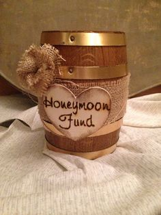 CUSTOM honey fund honey moon fund holder Money dance rustic wedding decor bridal shower theme party western mini barrel brown burlap on Etsy, $45.00