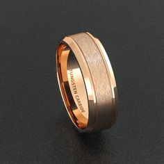 Mens Wedding Band Two Toned Rose Gold Tungsten Por Tungstenomega Rings Pinterest And
