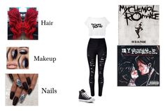 """My Chemical Romance is not Dead"" by cat-meow-03 ❤ liked on Polyvore featuring WithChic and Converse"