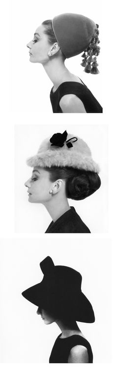 Audrey Hepburn photographed by Cecil Beaton for Vogue, 1964. Hats by Hubert de Givenchy.