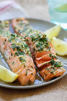 Garlic Herb Roasted Salmon.