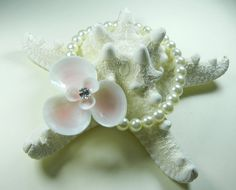 Pink Seaflower Seashell Wrist Corsage by ShellScapes