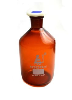 Eisco Labs 1000 ml Amber Reagent Bottle , Narrow Mouth with Acid Proof Polypropylene stopper, socket size 29/32