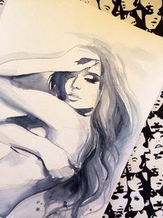 Hollywood Glam Original Watercolor Painting 11 x 15 by LanasArt, #fashion watercolor, #illustration, #fashion illustration