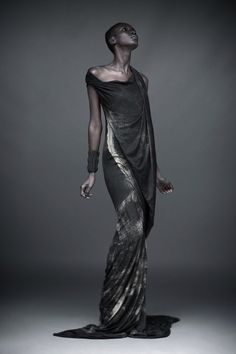 Elements || - Artisan mud print gown and never ending leather cuff (ebony)