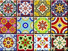Tile Stickers 24 PC Set Authentic Traditional Talavera Tiles Stickersl Bathroom & Kitchen Tile Decals Easy to Apply Just Peel & Stick Home Decor 6x6 Inch (Mexican Spanish 24pc C55)
