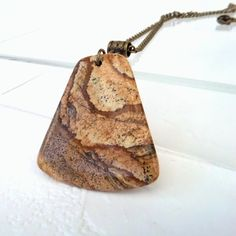 Unique picture jasper pendant necklace by Beadstorm Jewellery