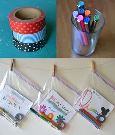 Travel journals for kids: Cut cardstock and put into a ziplock with tape, markers, stickers, etc.