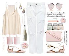 """Cami & White Denim jeans!"" by prettynposh2 ❤ liked on Polyvore featuring Edit, Aquazzura, Christian Dior, Kate Spade, Konstantino, Trish McEvoy, H&M, tarte, Conair and cami"