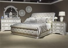 Magnolia Manor Upholstered Sleigh Bed 6 Piece Bedroom Set in Antique White Finish by Liberty Furniture - Home Decor Bedroom, Bed Furniture, Bedroom Furniture Beds, Bedroom Design, Diy Furniture Bedroom, Elegant Bedroom, Liberty Furniture, Home Decor, Bedroom Furniture