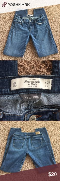 EUC Abercrombie & Fitch Perfect Stretch Jeans 4R EUC Abercrombie & Fitch Perfect Stretch Jeans 4R W27, L31. No holes, rips or stains. Abercrombie & Fitch Jeans Straight Leg