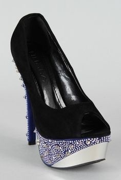 Look stylish from head to toe with these dazzling platform pumps! Featuring peep toe, studded spikes and jewel covered platform, and stiletto heel. Finished with lightly padded insole and easy slide style.