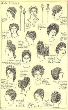 Shown in the picture are illustrations of the different hat and hair styles of Ancient Roman women. Woman´s ilustrations of the different hat and hair styles of the Ancient Roman Historical Costume, Historical Clothing, Ancient Roman Clothing, Ancient Greece Clothing, Ancient Rome, Ancient History, European History, Ancient Aliens, American History