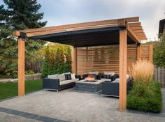modern patio shade structure lounge furniture and firepit