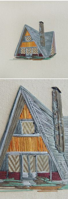 long architectural stitches - Stephanie K Clark (embroidered A frame) Embroidery Applique, Cross Stitch Embroidery, Embroidery Patterns, Embroidery Tattoo, Thread Art, Thread Painting, Contemporary Embroidery, Contemporary Art, Textiles