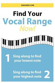 Find your vocal range in two easy steps with this fun sing along video. First sing along to find your lowest singable pitch and then sing along to find your highest note. The website also has a free printable pdf where you can color in your vocal range an Vocal Lessons, Singing Lessons, Singing Tips, Music Lessons, Singing Quotes, Guitar Lessons, Learn Singing, Piano Lessons, Art Lessons
