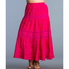 Sol Clothing Fuchsia Crochet Maxi Skirt ($20) ❤ liked on Polyvore featuring plus size fashion, plus size clothing, plus size skirts, plus size, crochet skirt, plus size cotton skirt, long pink skirt, plus size maxi skirts and fuchsia skirt