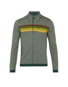Prada Striped Wool Polo Cardigan In Green Polo Cardigan, Mens Gadgets, Green Wool, Yellow Stripes, Menswear, Chandler Bing, Prada Men, Mens Tops, Jackets