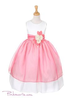 Ivory / Coral Satin Bodice with Colored Organza Girl Dress