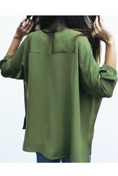 Green silk blouse MIASO'