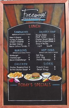 Custom Chalkboard Menuboards for Fareways Cafe at Lake of the Woods, VA       These framed chalkboard menu boards (roughly 3′ x 5'each) will be installed at the Fareways Cafe in The Lak…