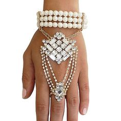 Gold crystal 1920's Inspired Flapper Great Gatsby Bracelet Hand Chain