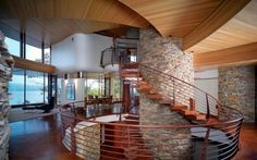 Chenequa Residence with Unique Home Roof Designs in USA view Beautiful-Staircase