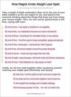 """Powerful weight loss affirmations used in popular weight loss spells... They really work like """"magic""""!"""
