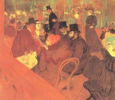 Henri de Toulouse-Lautrec.  Das Promenoir des »Moulin Rouge«. 1892, Öl auf Leinwand, 123 × 140,5 cm. Chicago, Art Institute. Genremalerei. Frankreich. Postimpressionismus.  KO 00937