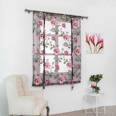 Rod-Liftable-Kitchen-Bathroom-Window-Roman-Curtain-Floral-Sheer-Voile-Valances