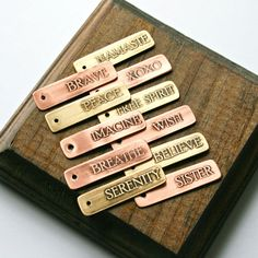 Etched Small Word Tags, Copper and Brass, Inspirational Words, Family, Love, Encouragement, Birthday, Graduation, Can be Personalized