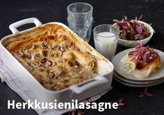 Herkkusienilasagne, Resepti: Valio #kauppahalli24 #resepti #verkkoruokauppa #herkkusieni #lasagne #ruokaidea Pasta Dishes, Camembert Cheese, Mashed Potatoes, Macaroni And Cheese, Ethnic Recipes, Food, Heaven, Lasagna, Whipped Potatoes