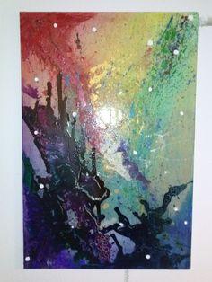 'Eternal space in colour' Acrylic and poured glaze on Canvas. My Portfolio, Glaze, Colour, Canvas, Painting, Art, Enamel, Color, Tela