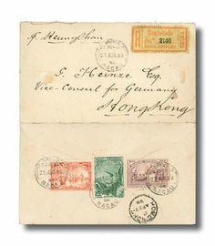 "Macau, 1898 (27 Apr.) registered envelope (with enclosure) to the German Vice Consul, Hong Kong (27.4) ""p. Heungshan"" bearing on reverse Vas..."