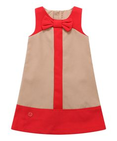 Another great find on Tan & Red Bow Color Block Shift Dress - Infant, Toddler & Girls by Richie House Frocks For Girls, Kids Frocks, Little Dresses, Little Girl Dresses, Toddler Dress, Baby Dress, Infant Toddler, Toddler Girls, Toddler Fashion