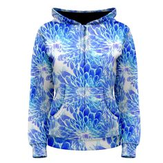 Blue Petals Women's Zipper Hoodie        Made from: 100% Polyester     Quality YKK zipper     Adjustable drawstring hood     Standard Fit     Machine Washable