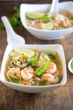 Seafood Recipes, Soup Recipes, Cooking Recipes, Spicy Shrimp Recipes, Shrimp Pho Soup Recipe, Pho Soup Recipe Easy, Asian Recipes, Healthy Recipes, Keto Recipes