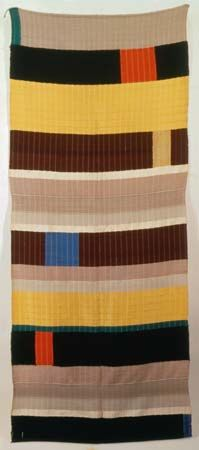 Anni Albers (1899-1994) was a textile designer, weaver, writer, and printmaker who inspired a reconsideration of fabrics as an art form, both in their functional roles and as wallhangings.