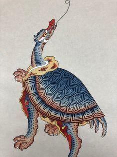 민화 그리기 / 봉황도 + 거북이도 채색 과정 : 네이버 블로그