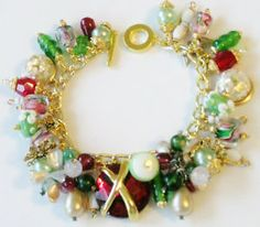 Winter Holiday Christmas Charm Bracelet Handcrafted OOAK | eBay